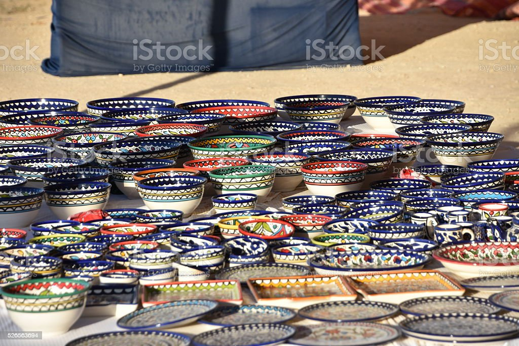 Sale of ceramic bowls and plates stock photo