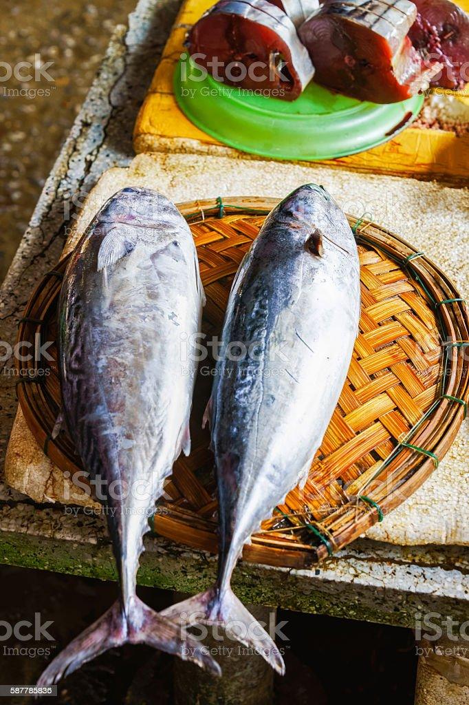 Sale of cut Fresh fish in street market in Vietnam stock photo