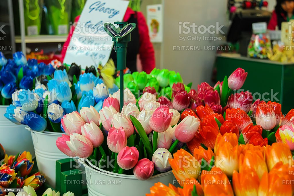 Sale of flowers and gifts at the airport Amsterdam Schiphol, stock photo