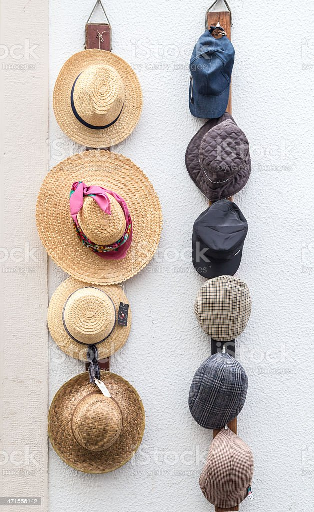 Sale of hats in the city stock photo
