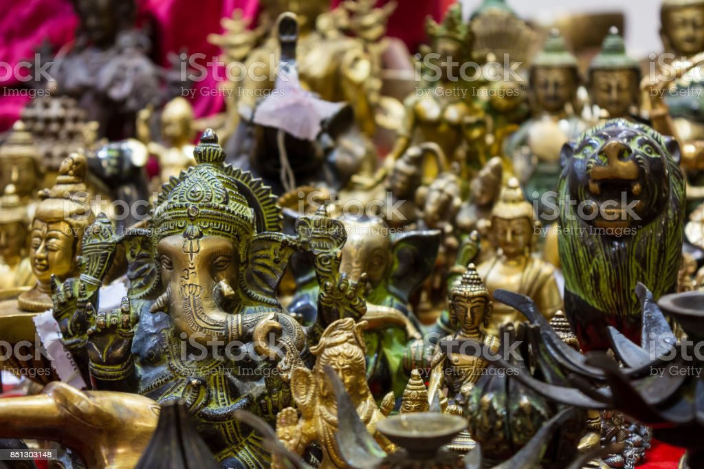 sale of indian souvenirs stock photo
