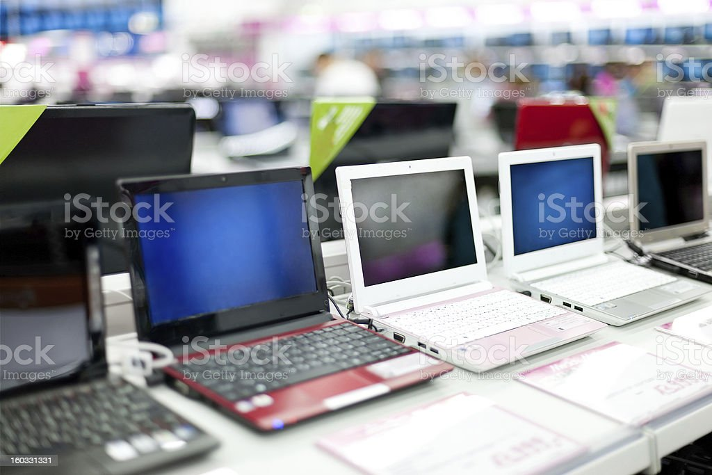 Sale of laptops in shop royalty-free stock photo