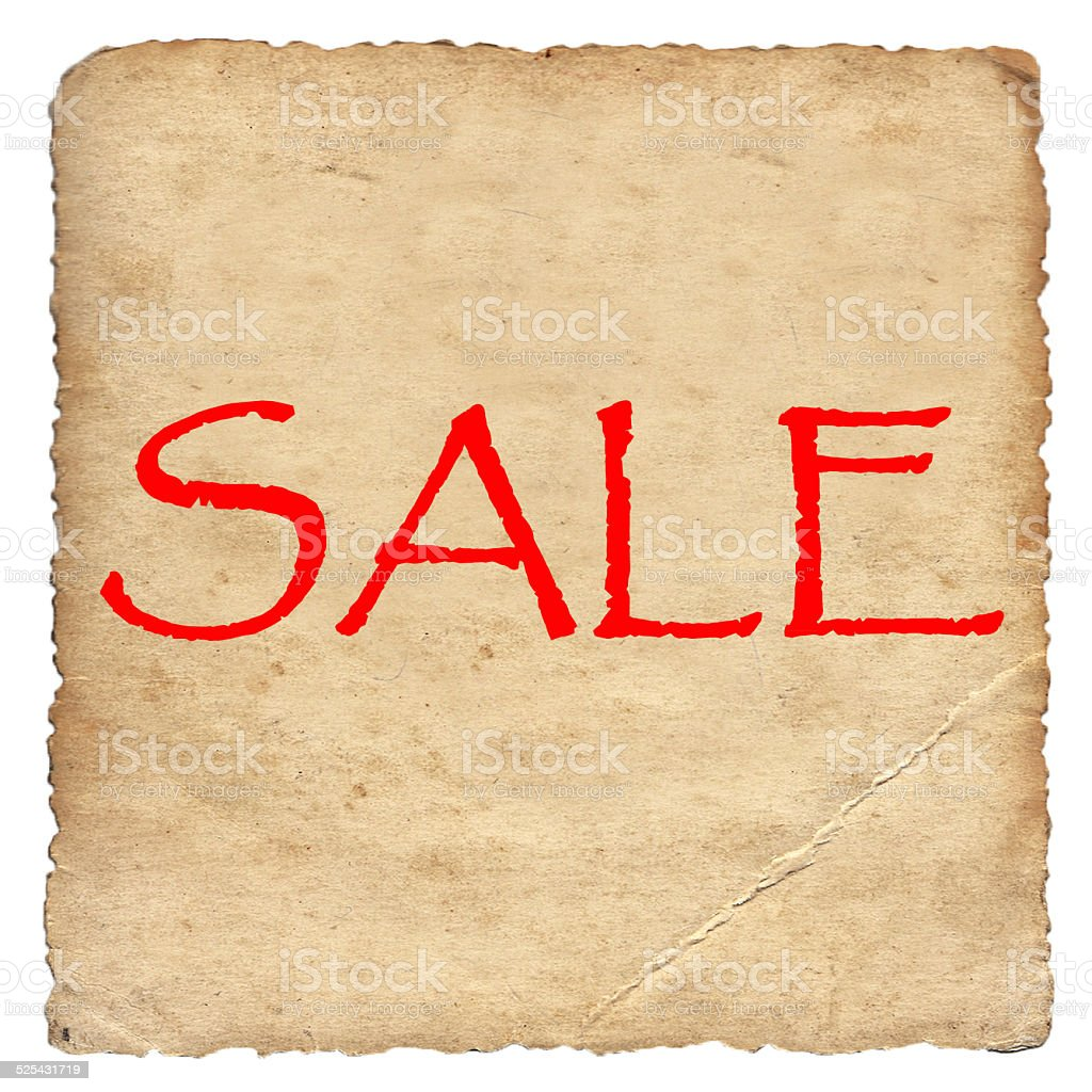 Sale on old paper background stock photo
