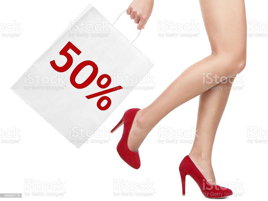 Sale rebate shopping bag royalty-free stock photo