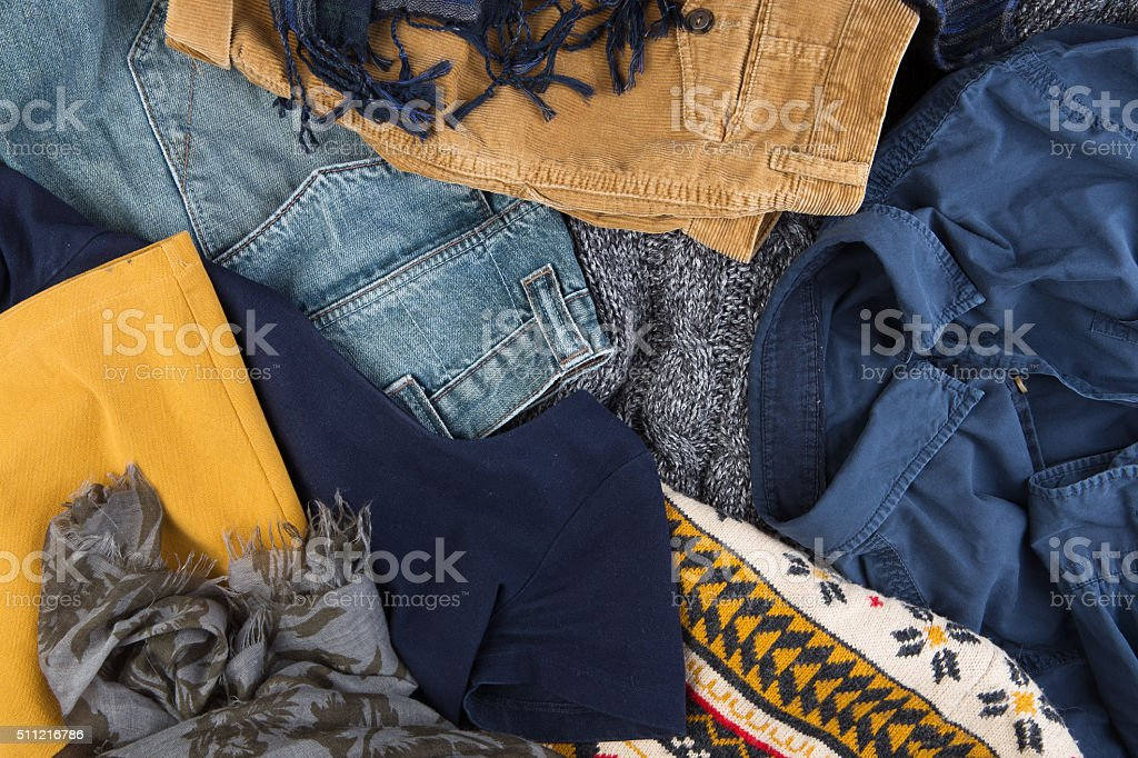 Sale - set of warm clothes stock photo