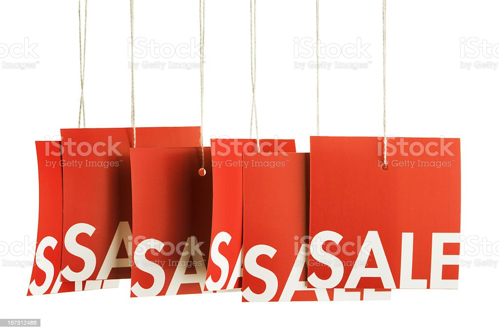 Sale Shopping Price Tags for Retail Marketing, Isolated on White royalty-free stock photo