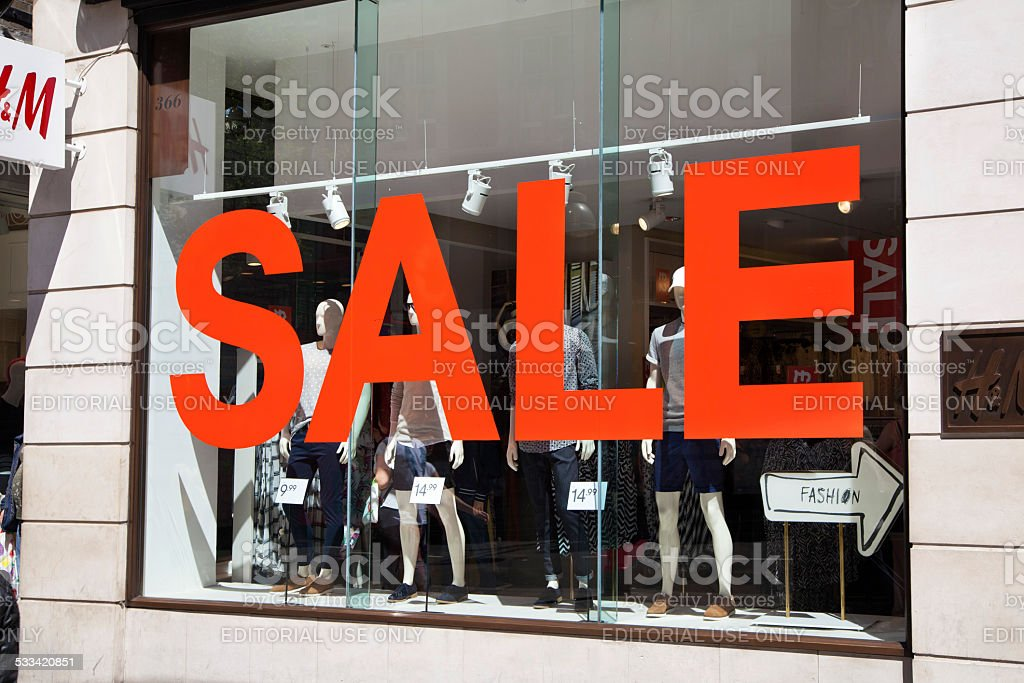 Sale sign in the shop window, London stock photo
