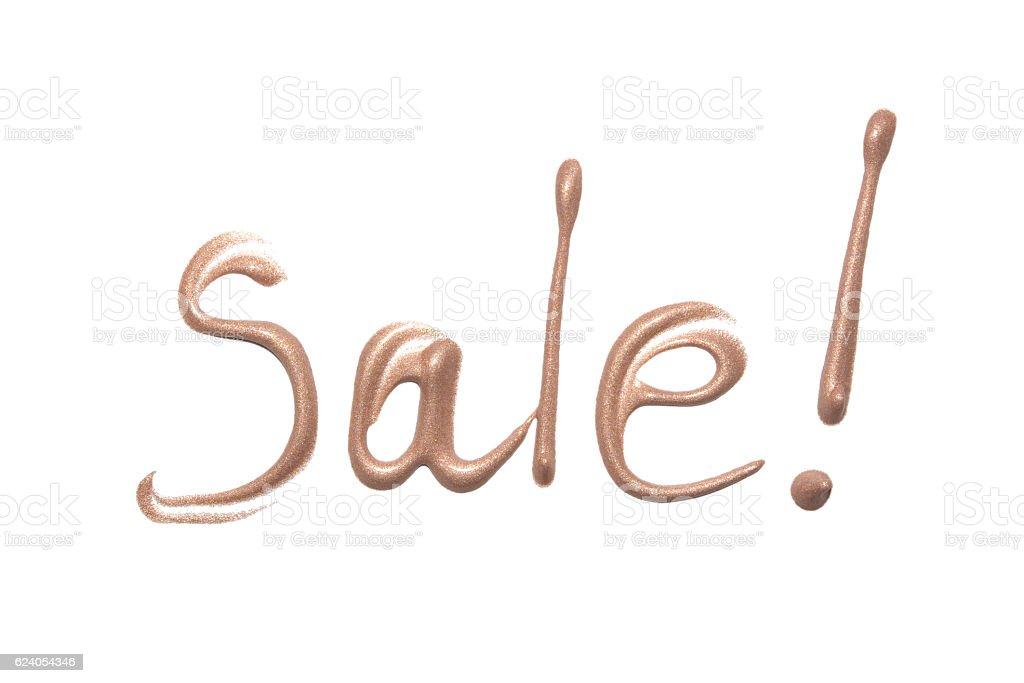 Sale sign. Liquid foundation on white background. stock photo
