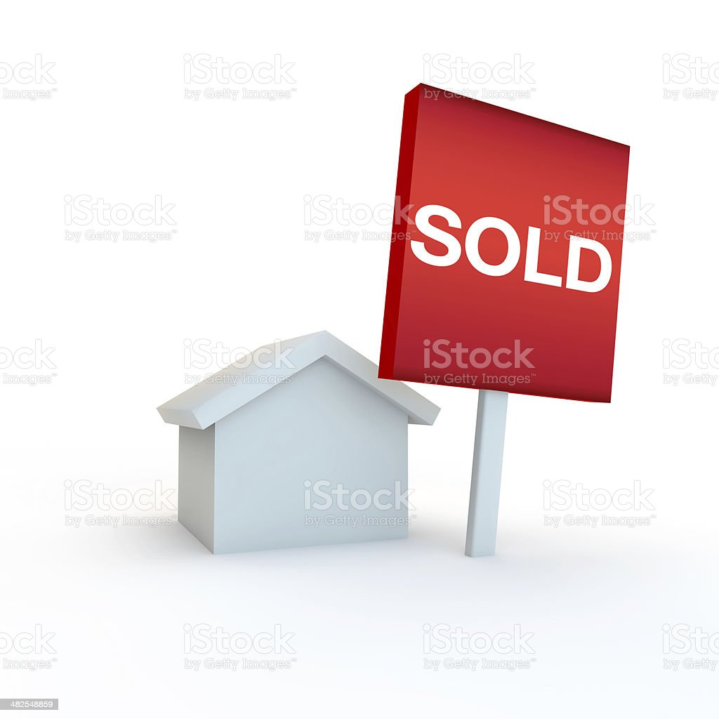 sale sign outside a 3d house simple white design royalty-free stock photo