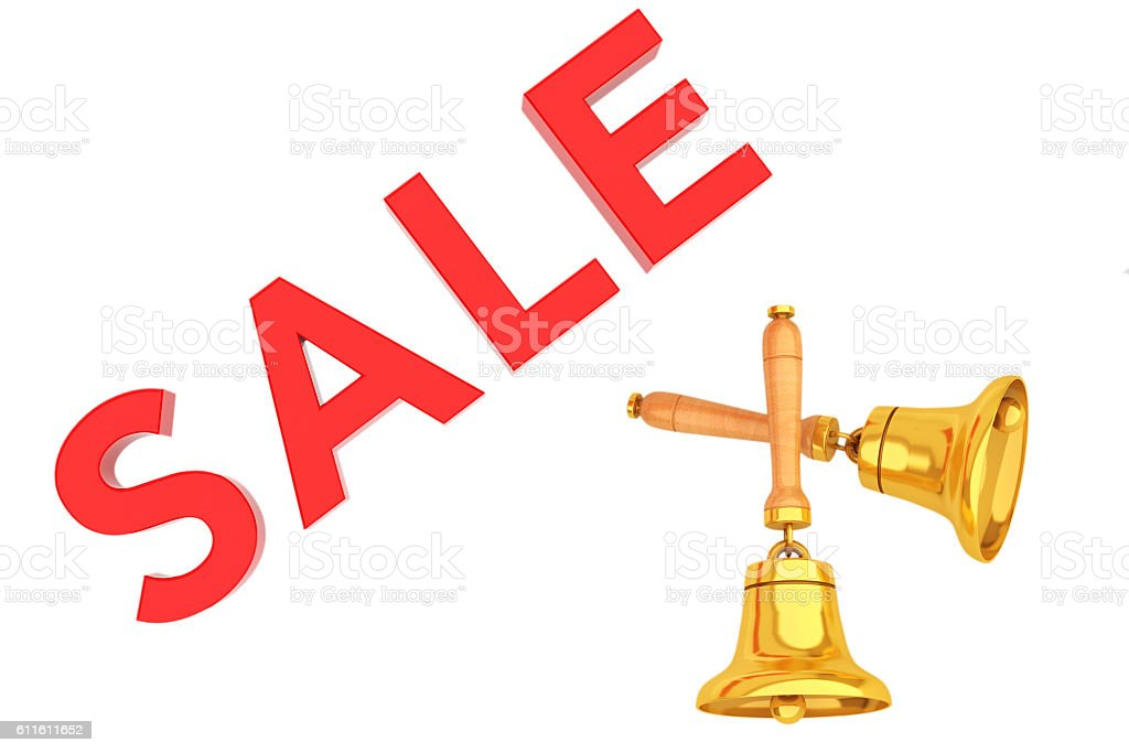 Sale Sign with Golden Bells. 3d Rendering stock photo
