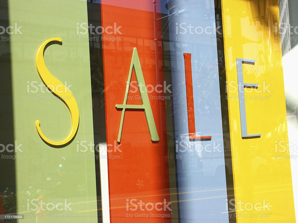 Sale Signage on Rodeo Drive in Window stock photo