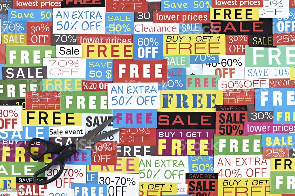 Sale Signs And Scissors stock photo