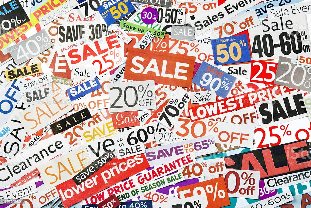 Sale signs, newspaper and flyers clippings - XVIII royalty-free stock photo