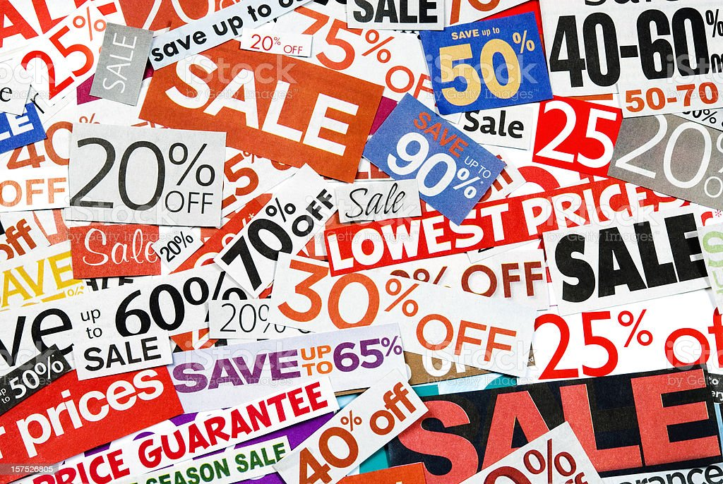 Sale signs, newspaper and flyers clippings - XX royalty-free stock photo