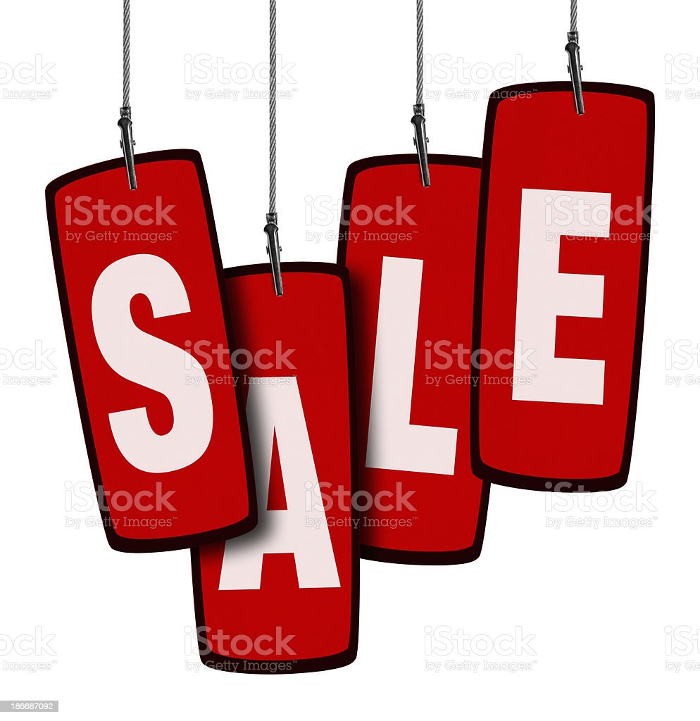 Sale Tag in Wire Clamp 4 (Clipping Path) royalty-free stock photo