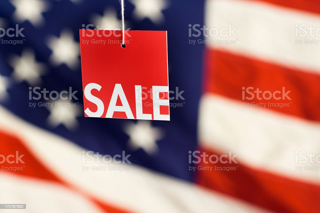 Sale Tag, USA Flag for Fourth of July Consumer Shopping stock photo