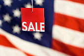 Sale Tag, USA Flag for Fourth of July Consumer Shopping