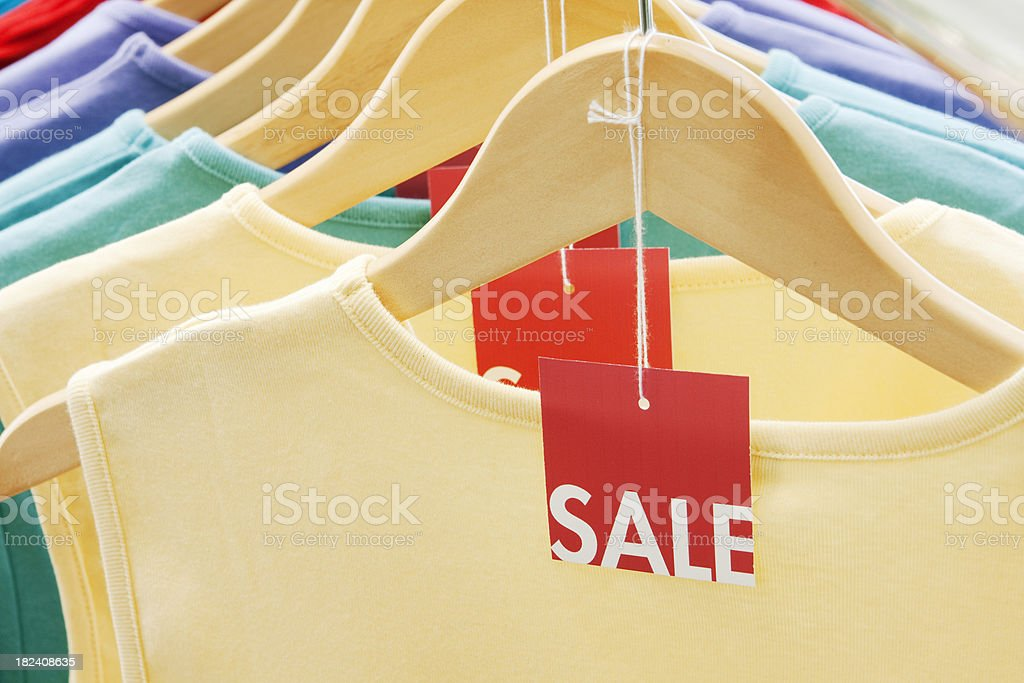 Sale Tags on Fashion Retail Clothing Rack royalty-free stock photo