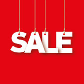 Sale, the word of the letters hanging on the ropes