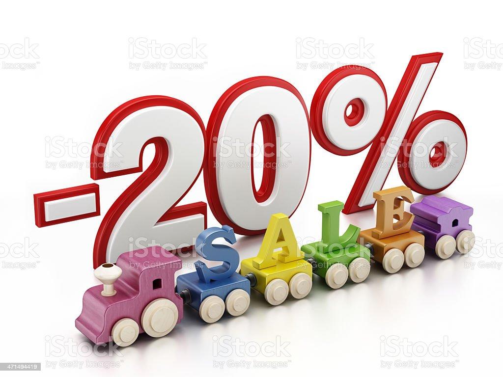20% sale train royalty-free stock photo