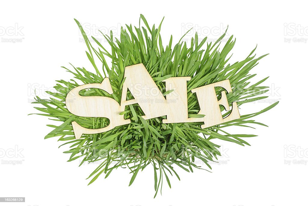 Sale Wooden sign on  grass royalty-free stock photo