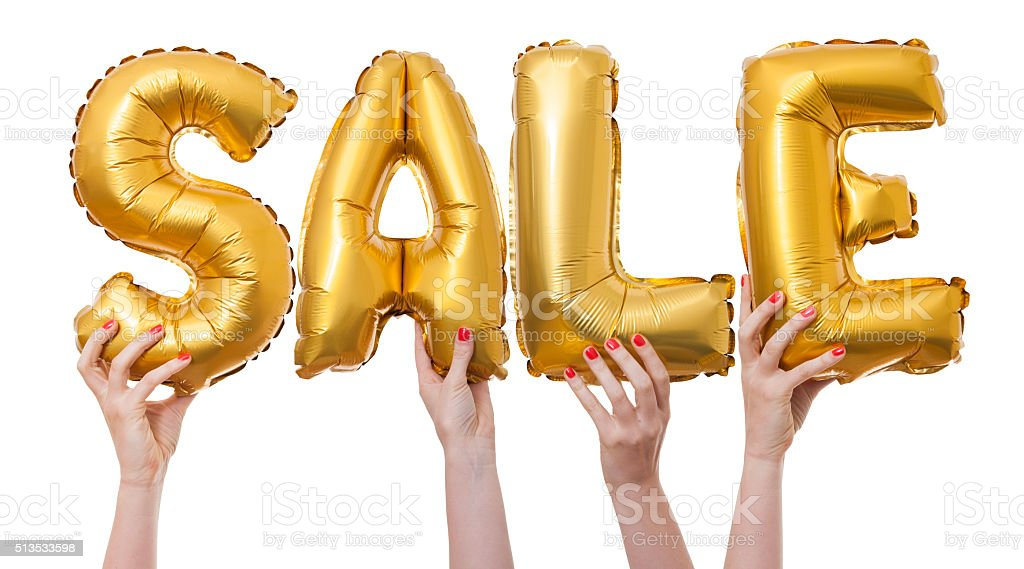 Sale word made from gold balloons stock photo