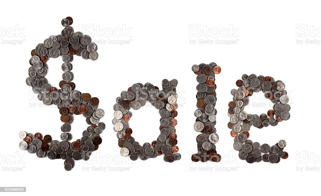 Sale. Word made of coins. stock photo