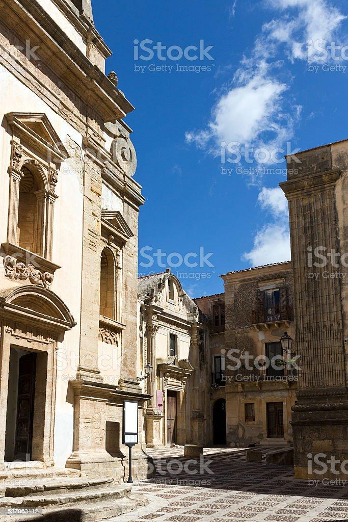 Salemi - Cobbled street in historic center, Jesuit Church.Trapani province stock photo