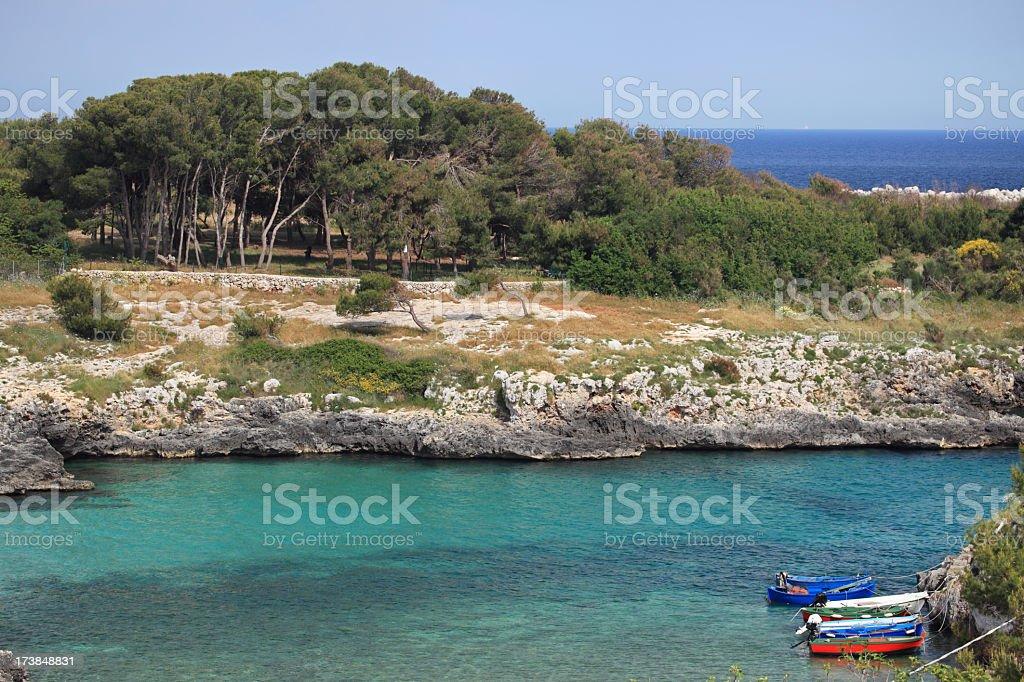 Salento cliffs in Puglia, Italy royalty-free stock photo