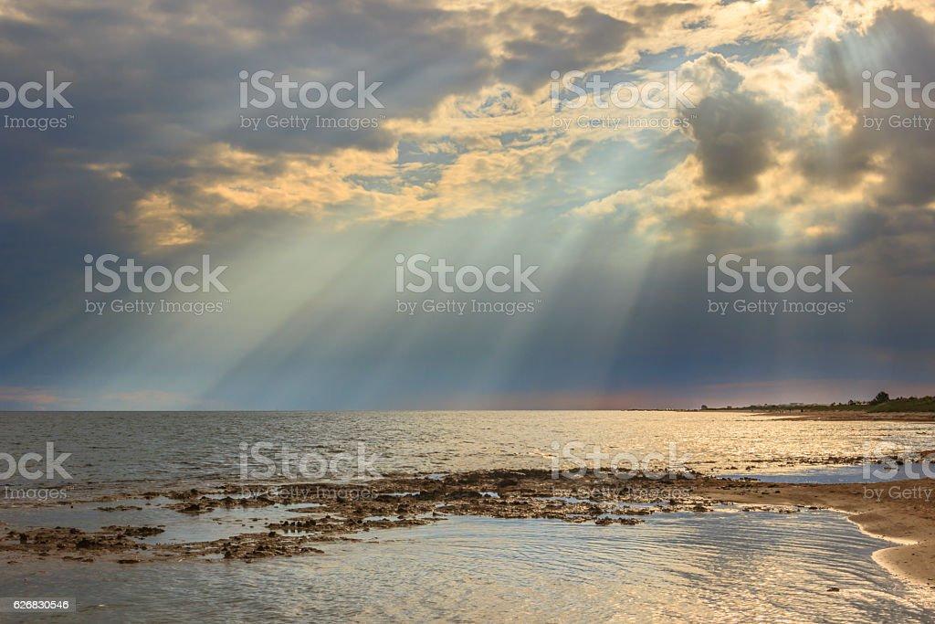 Salento coast: horizon sea with cloudy sunset. Apulia,ITALY. stock photo