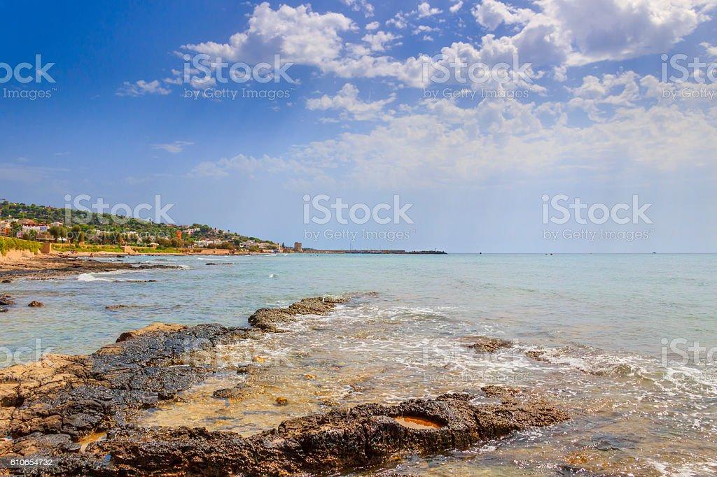 Salento coast, Ionian sea:panoramic view of Torre Vado town.Italy (Apulia). stock photo