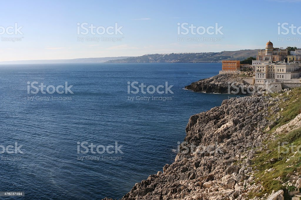 salento coastline at Santa Cesarea Terme near Lecce Apulia stock photo