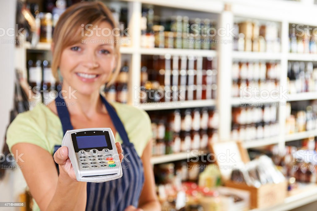 Sales Assistant In Food Store stock photo
