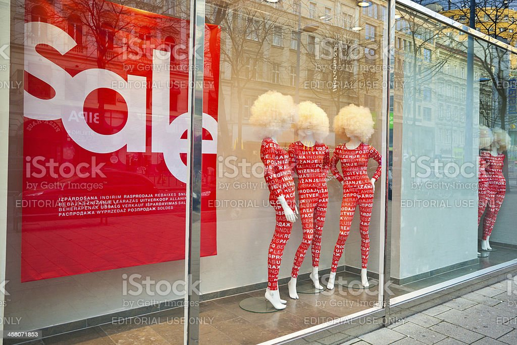 Sales at Clothes Store stock photo
