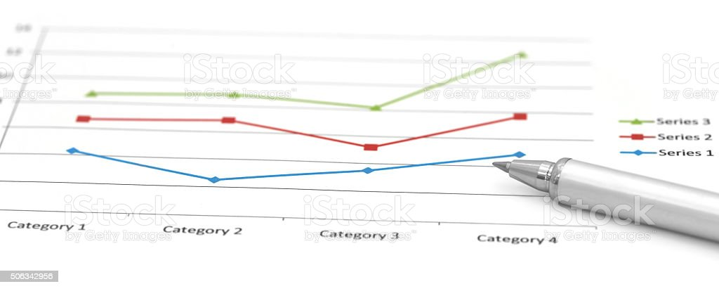 Sales chart with a silver ballpoint stock photo
