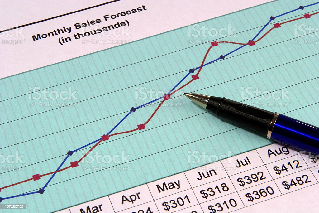 Sales forecast line graph stock photo