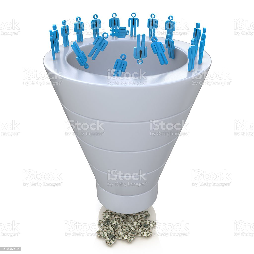 Sales Funnel over a white background stock photo