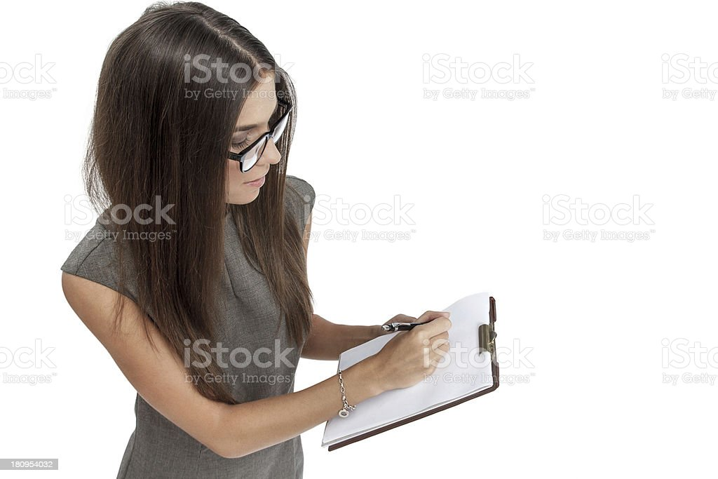 Sales manager with notepad royalty-free stock photo
