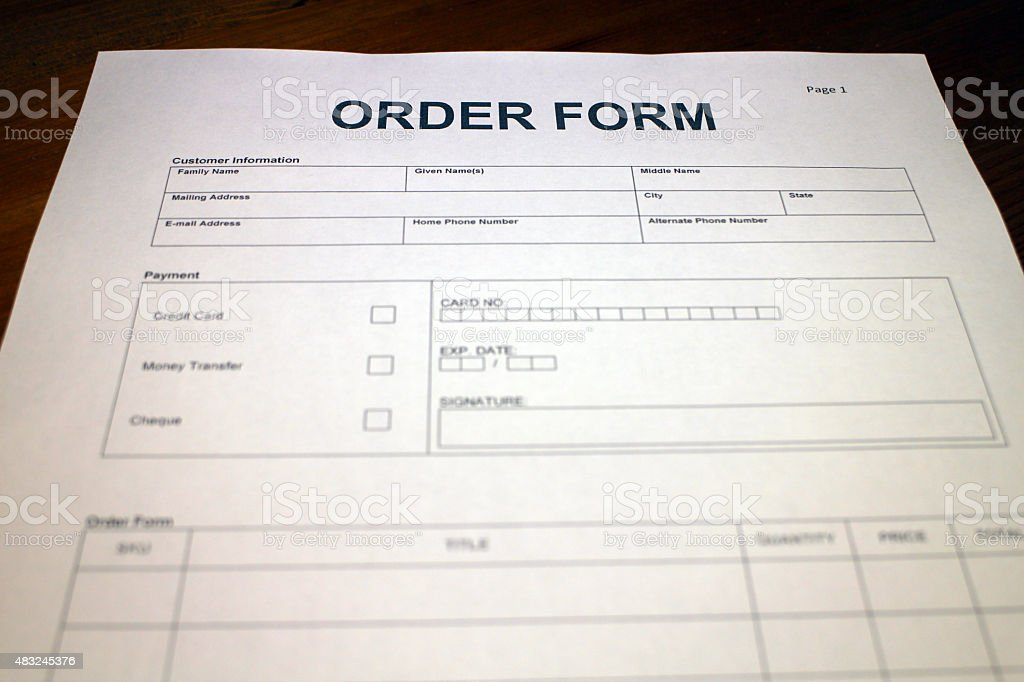 Sales Order Form Stock Photo 483245376 | Istock