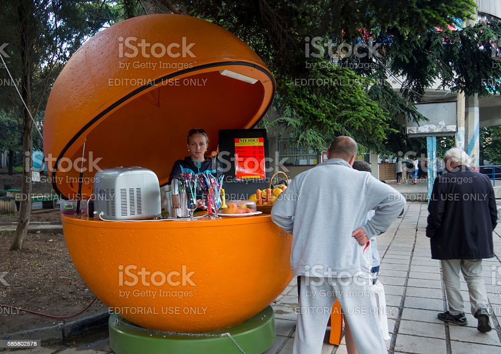 Sales outlet for the sale of fresh juices in Alushta stock photo