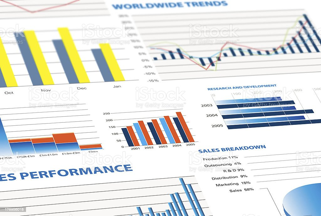 sales performance and business graphs stock photo