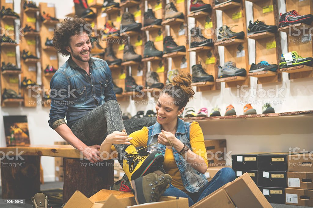Sales person helping customer stock photo