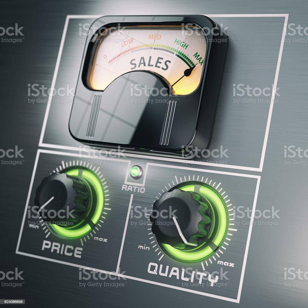 Sales price quality ratio control marketing concept. Maximum sal stock photo