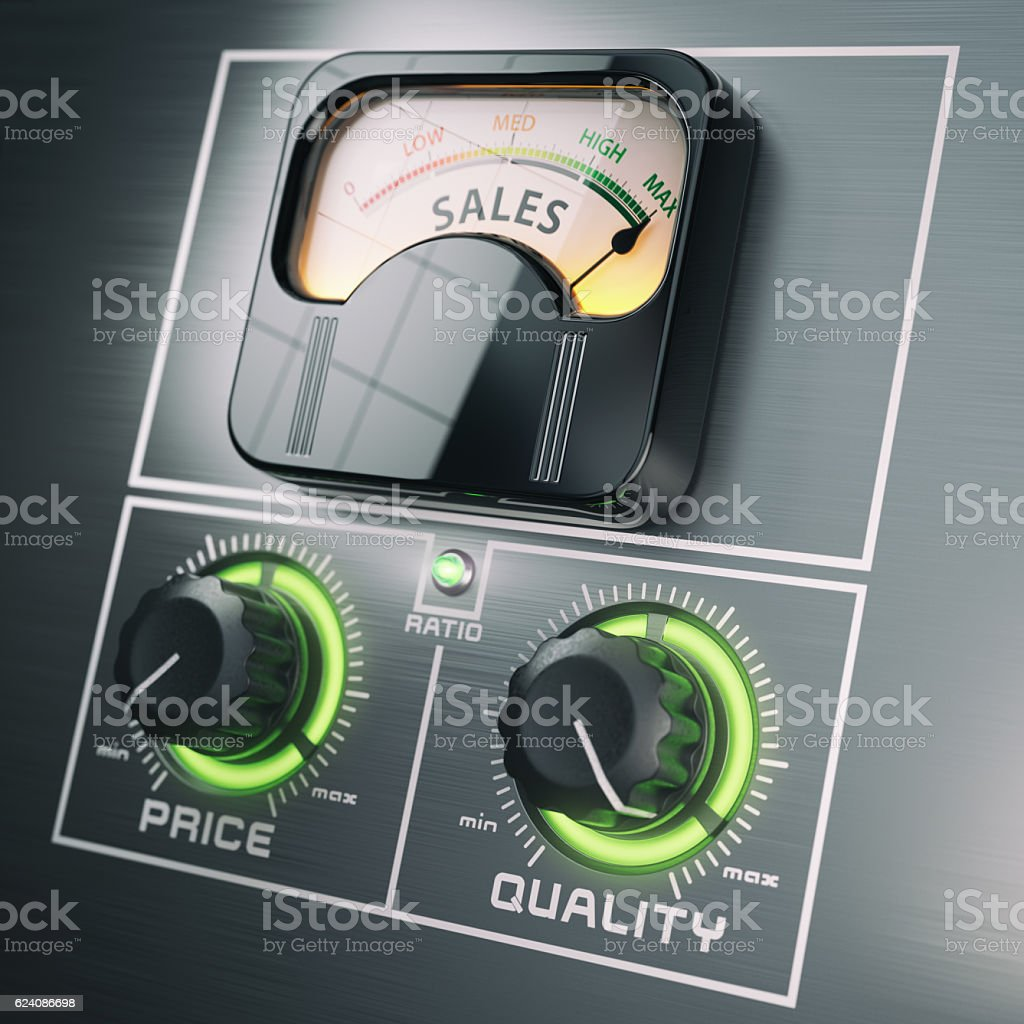 Sales price quality ratio control marketing concept. Maximum sal stock photo