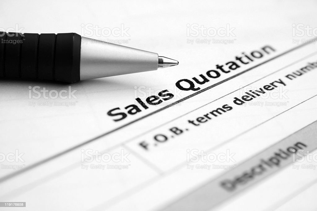 A sales quotation form being filled out royalty-free stock photo
