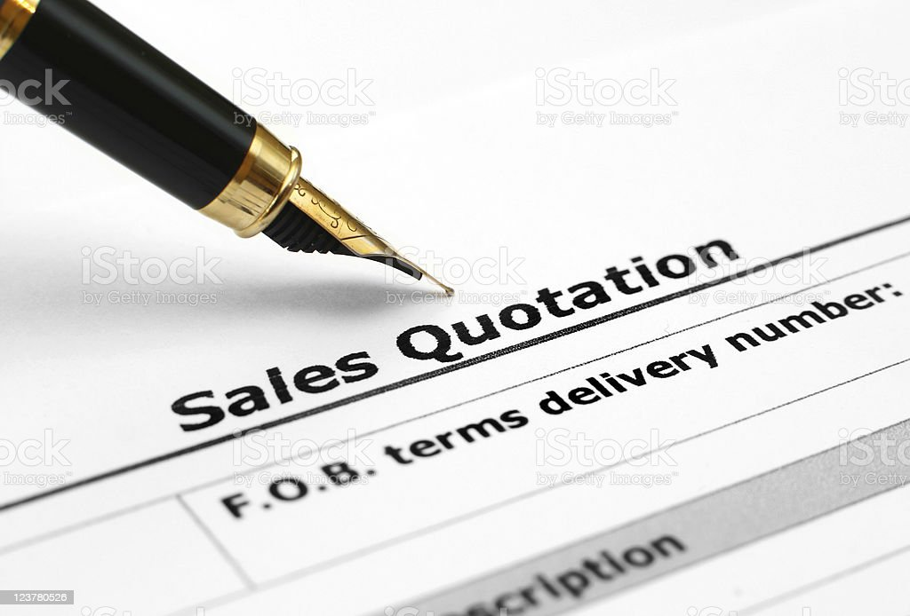 A sales quotation that is being written out  royalty-free stock photo
