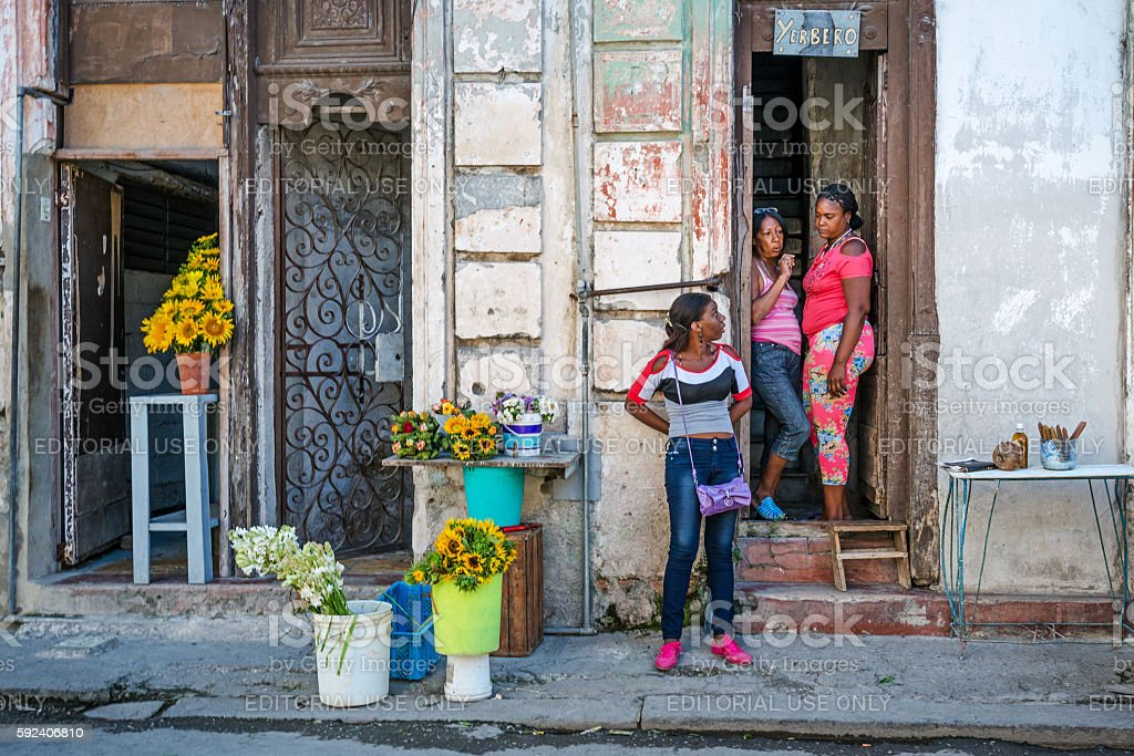 sales stall for flowers, Cuba, Havana stock photo