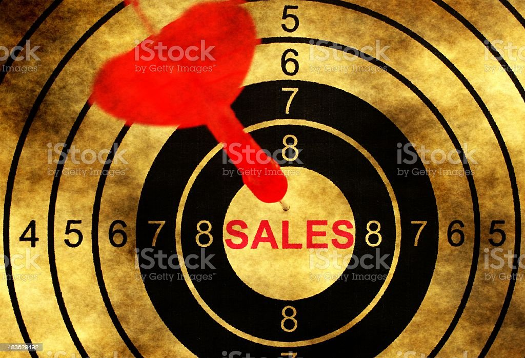 Sales target concept on grunge background stock photo