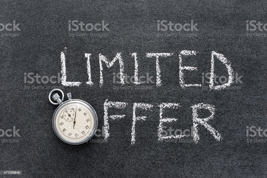 Sales warning in chalk writing with timer stock photo