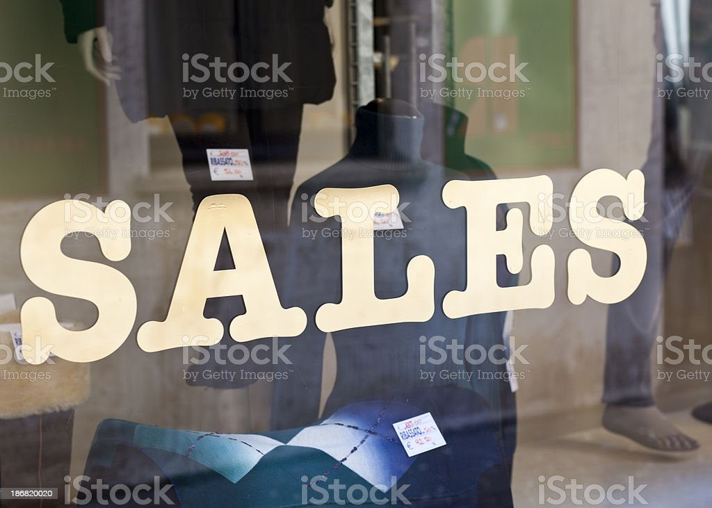 Sales Written On Shop Window royalty-free stock photo